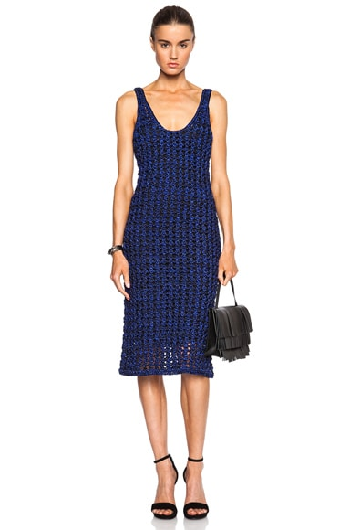 Proenza Schouler Open Crochet Knit Tank Dress in Black & Cobalt
