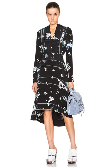 Proenza Schouler Floral Print Dress with Tiered Skirt in Black & Blue