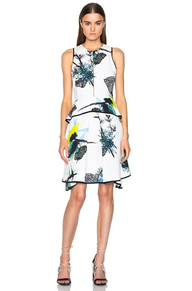 Proenza Schouler Printed Viscose Georgette Waisted Dress in Blue, Green Ikebana Print & White