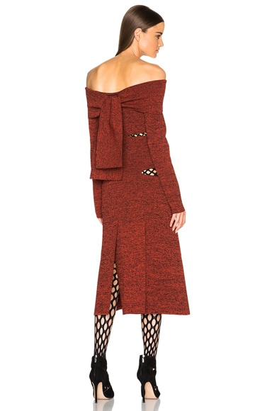 Proenza Schouler Slashed Off Shoulder Dress in Bright Mahogany & Black