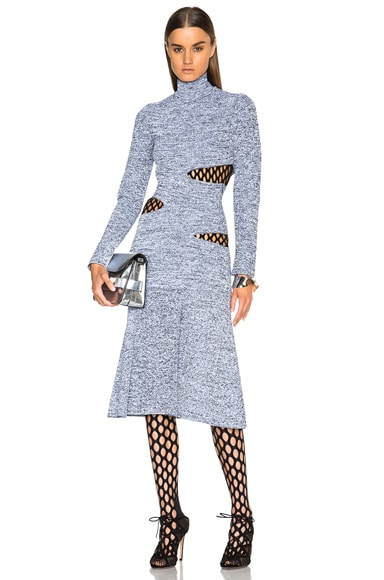 Proenza Schouler Slashed Turtleneck Dress in Black & White