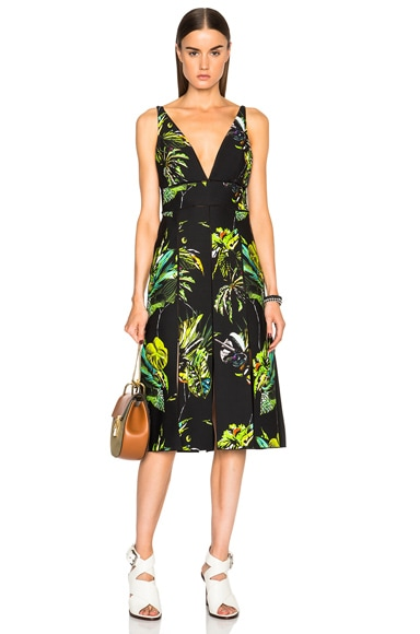 Proenza Schouler Printed Satin V Neck Long Dress with Slits in Black, Green & Chartreuse Floral Print