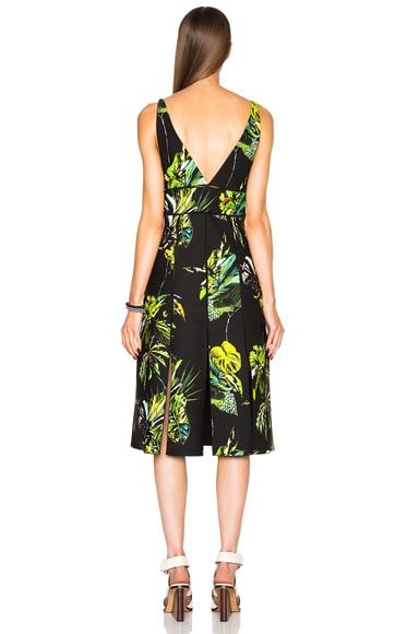 Printed Satin V Neck Long Dress with Slits