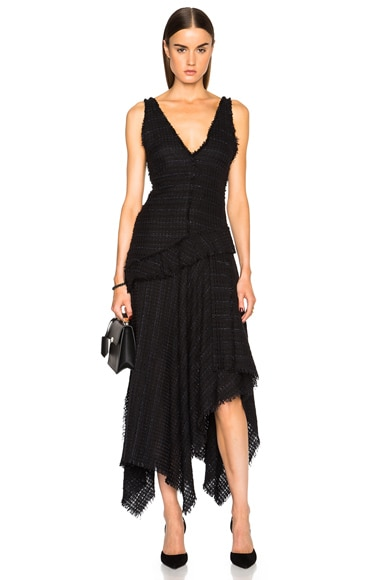 Proenza Schouler Open Weave Tweed Dress in Black