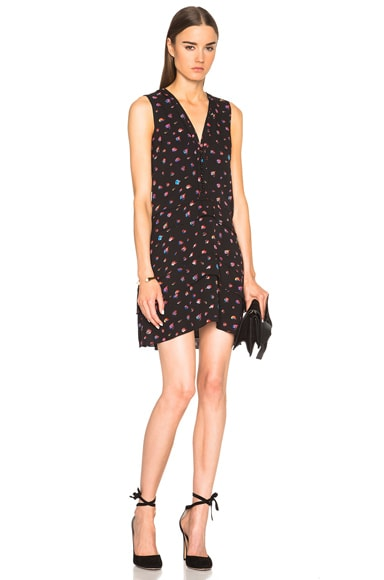 Proenza Schouler Georgette V Neck Dress in Black Mini Flower Print