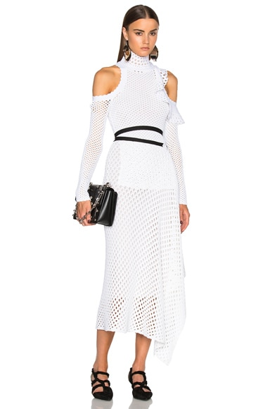 Proenza Schouler Mesh Knit Off Shoulder Dress in White