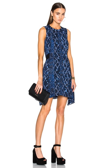 Proenza Schouler Printed Georgette Flared Dress in Cobalt & Lavender