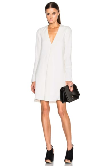 Proenza Schouler Satin Back Crepe V Neck Dress in Off White