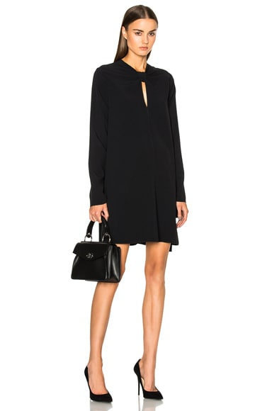 Proenza Schouler Satin Back Crepe Flared Dress in Black
