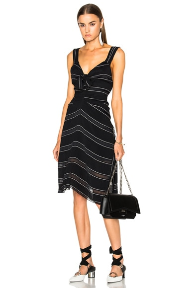 Proenza Schouler Pin Stripe Crepe Cami Dress in Black & White Stripe