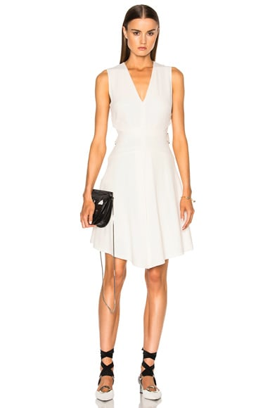 Proenza Schouler Satin Back Crepe Flared Dress in Off White