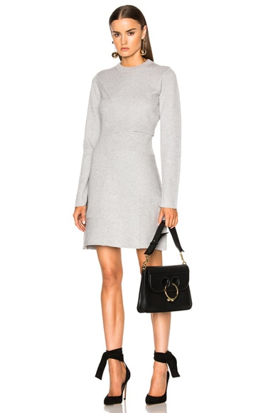 Proenza Schouler Patchwork Knit Dress in Light Grey Melange
