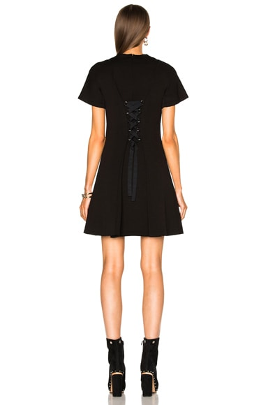 Double Face Wool A Line Dress with Back Lacing