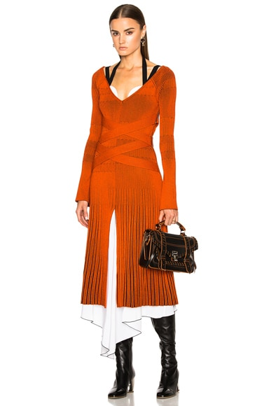 Proenza Schouler Fine Rib Knit Dress in Black & Orange