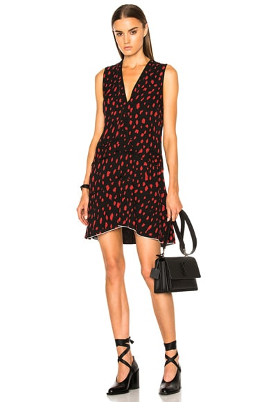 Proenza Schouler Printed Georgette V Neck Dress in Black & Red Leopard