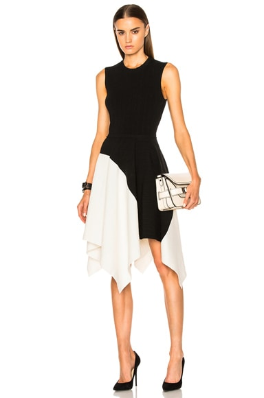 Proenza Schouler Silk Pleated Rib Waisted Dress in Black & Off White