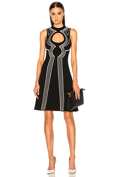 Proenza Schouler Intarsia Circle Cut Out Dress in Black, Sand & Grey