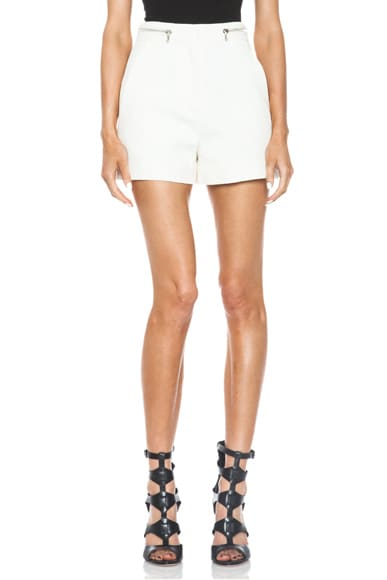 High Waisted Cotton-Blend Suiting Shorts