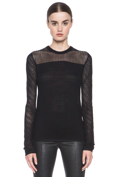 Lace Knit Crewneck Sweater
