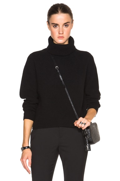 Proenza Schouler Wool Cashmere Rib Turtleneck in Black