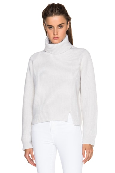 Proenza Schouler Wool Cashmere Rib Turtleneck in Off White