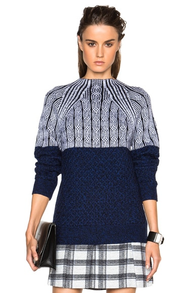 Proenza Schouler Cable Tweed Turtleneck in Cobalt Combo