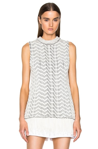Proenza Schouler Weaving Jacquard Sleeveless Crewneck Sweater in Black & Off White