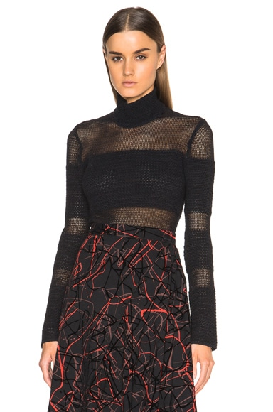 Proenza Schouler Woven Mesh Turtleneck in Black