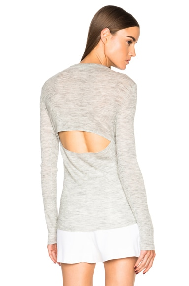 Proenza Schouler Ultrafine Rib Crewneck Sweater in Light Grey Melange