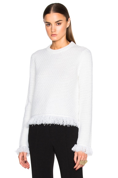 Proenza Schouler Wool & Cotton Stitch Crewneck Sweater in Off White