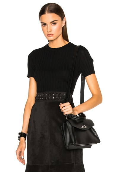 Proenza Schouler Ultrafine Rib Cropped Crewneck Sweater in Black