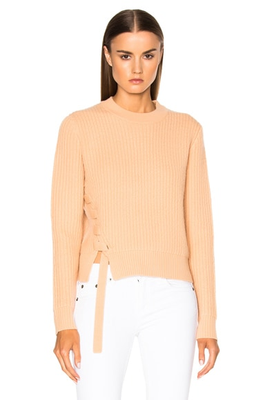 Proenza Schouler Wool Cashmere Side Lacing Sweater in Tan