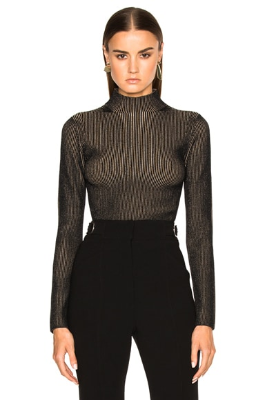 Proenza Schouler Plaited Rib Underpinnings Turtleneck in Black & Tan