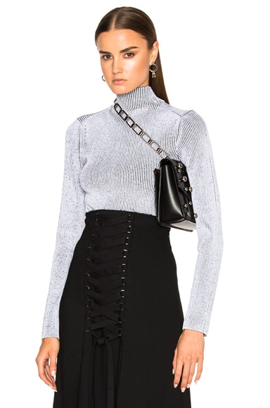 Proenza Schouler Plaited Rib Underpinnings Turtleneck in Black & White