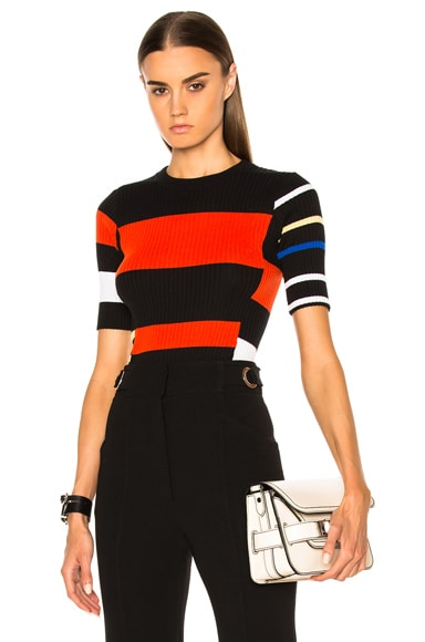 Proenza Schouler Lightweight Cotton Crewneck Sweater in Black, Orange & Electric Blue