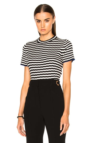 Proenza Schouler Silk Cashmere Irregular Stripe Cropped in Black & White
