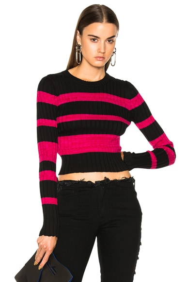 Ultrafine Striped Rib Long Sleeve Crewneck Sweater