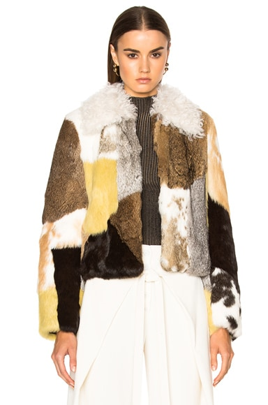 Proenza Schouler Rabbit Patchwork Fur Jacket in Natural, Light Grey & Pale Yellow