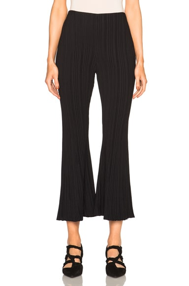 Proenza Schouler Micro Pleat Flare Knit Pants in Black