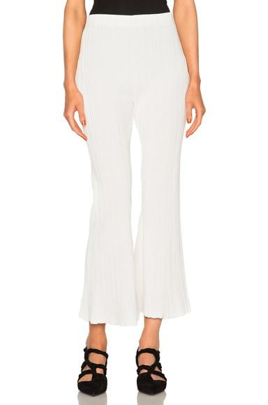 Proenza Schouler Micro Pleat Flare Knit Pants in Off White