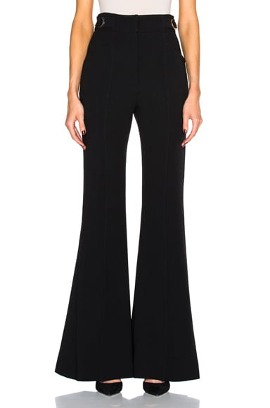 Proenza Schouler Stretch Wool Flared Pants in Black