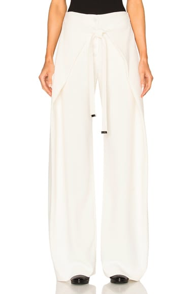 Proenza Schouler Viscose Wool Baggy Wrap Pants in Off White