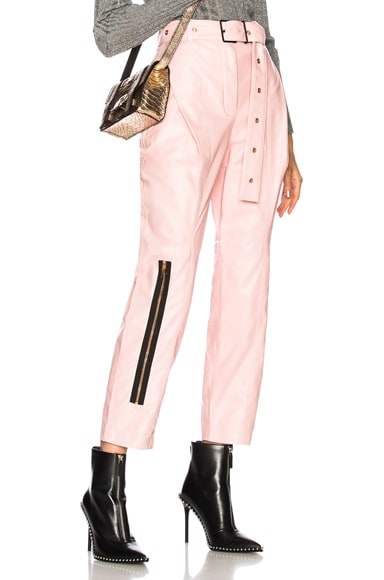 Shiny Plonge Leather Straight Pleated Pants