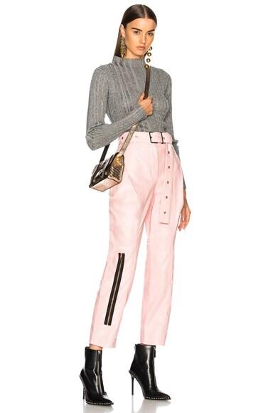 Shiny Plonge Leather Straight Pleated Pants