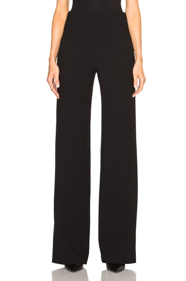 Proenza Schouler Wide Leg Wool Suiting Trousers in Black