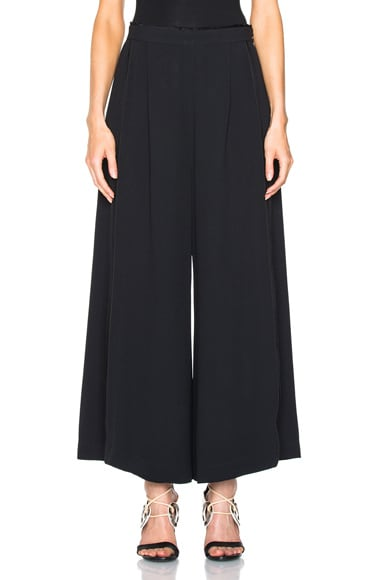 Proenza Schouler Satin Back Crepe Wide Leg Pants in Black