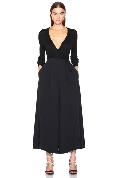 Satin Back Crepe Wide Leg Pants