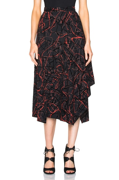 Proenza Schouler Flocked Printed Crepe Skirt Scribble in Black & Burgundy