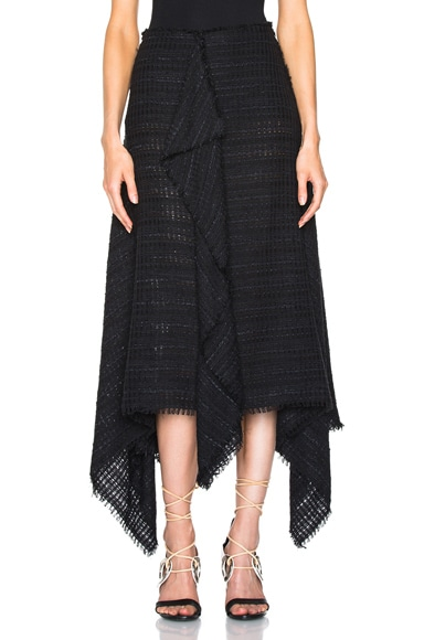 Proenza Schouler Open Weave Tweed Skirt in Black