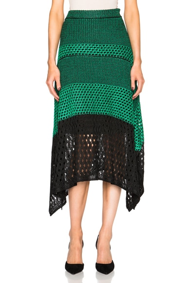 Proenza Schouler Open Stitch Handkerchief Hem Mid Skirt in Deep Mint & Black